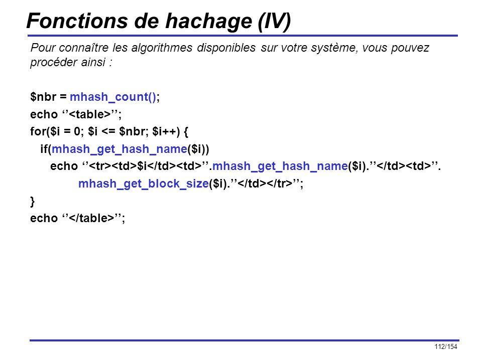 Fonctions de hachage (IV)
