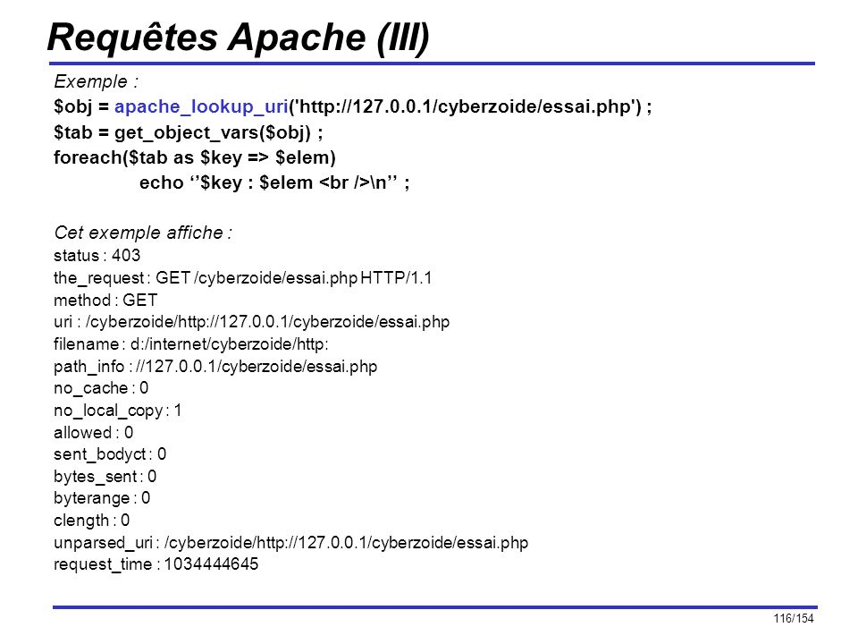 Requêtes Apache (III) Exemple :