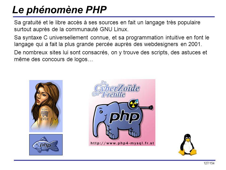 Le phénomène PHP Sa gratuité et le libre accès à ses sources en fait un langage très populaire surtout auprès de la communauté GNU Linux.