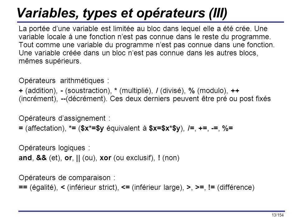 Variables, types et opérateurs (III)