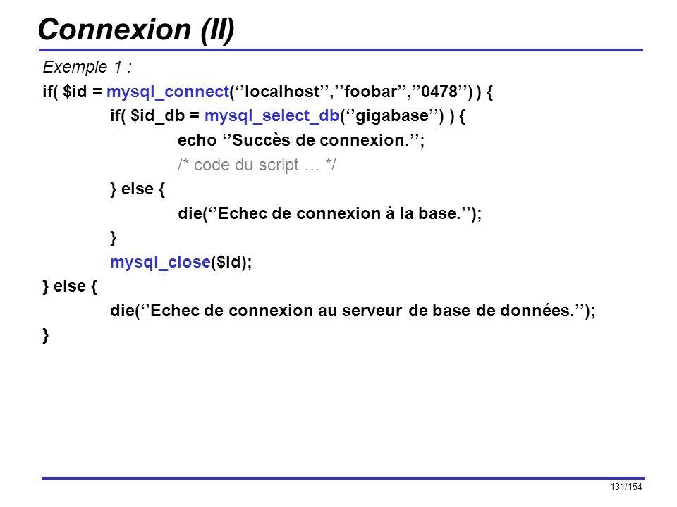 Connexion (II) Exemple 1 :
