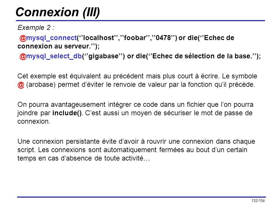 Connexion (III) Exemple 2 :