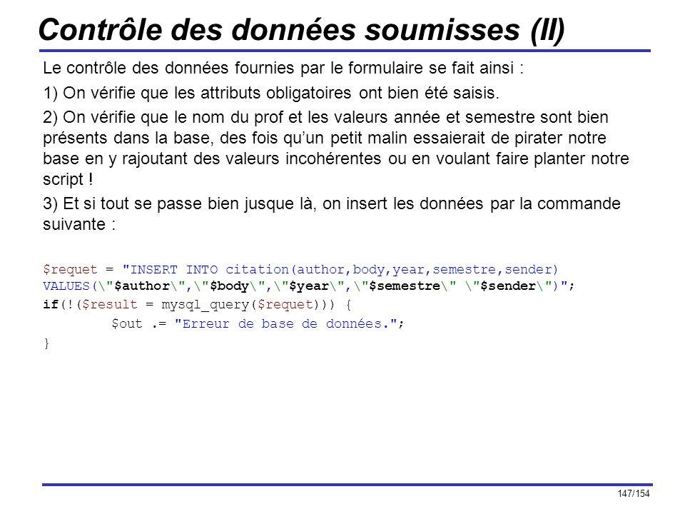 Contrôle des données soumisses (II)