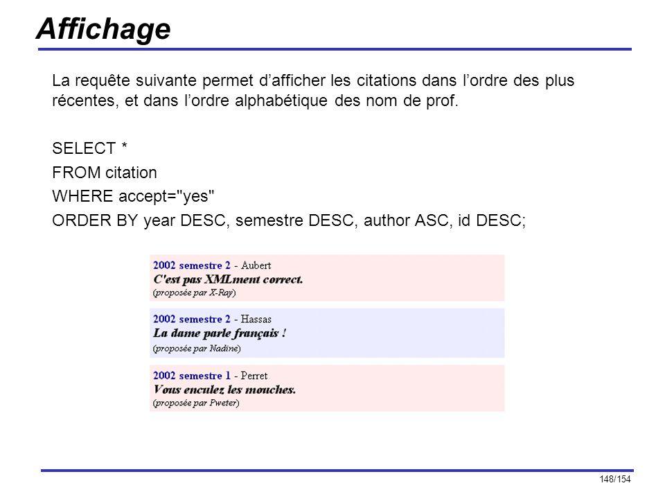 Affichage La requête suivante permet d'afficher les citations dans l'ordre des plus récentes, et dans l'ordre alphabétique des nom de prof.