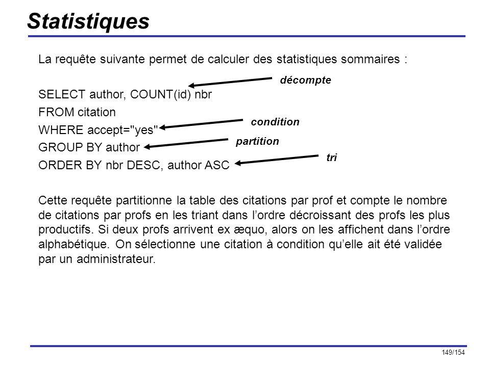 Statistiques La requête suivante permet de calculer des statistiques sommaires : SELECT author, COUNT(id) nbr.
