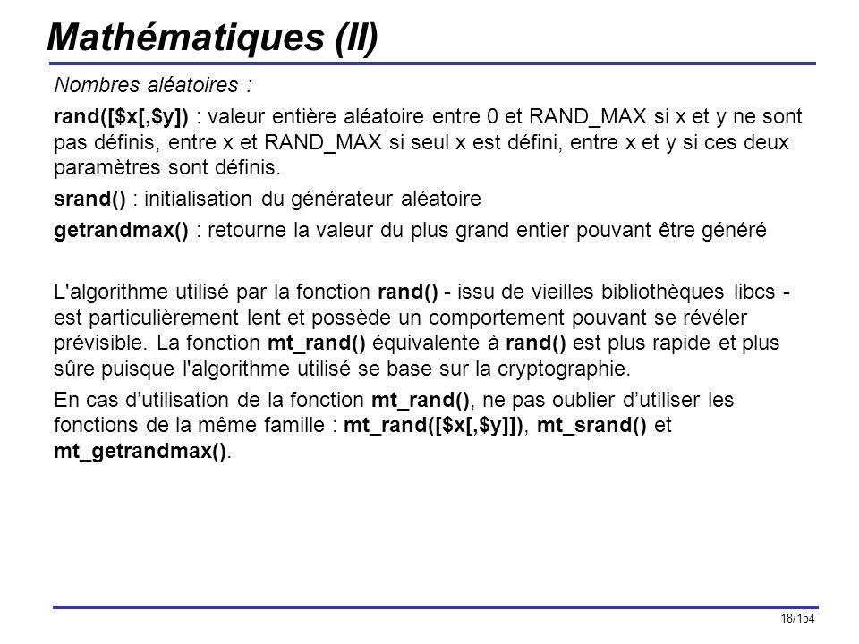 Mathématiques (II) Nombres aléatoires :