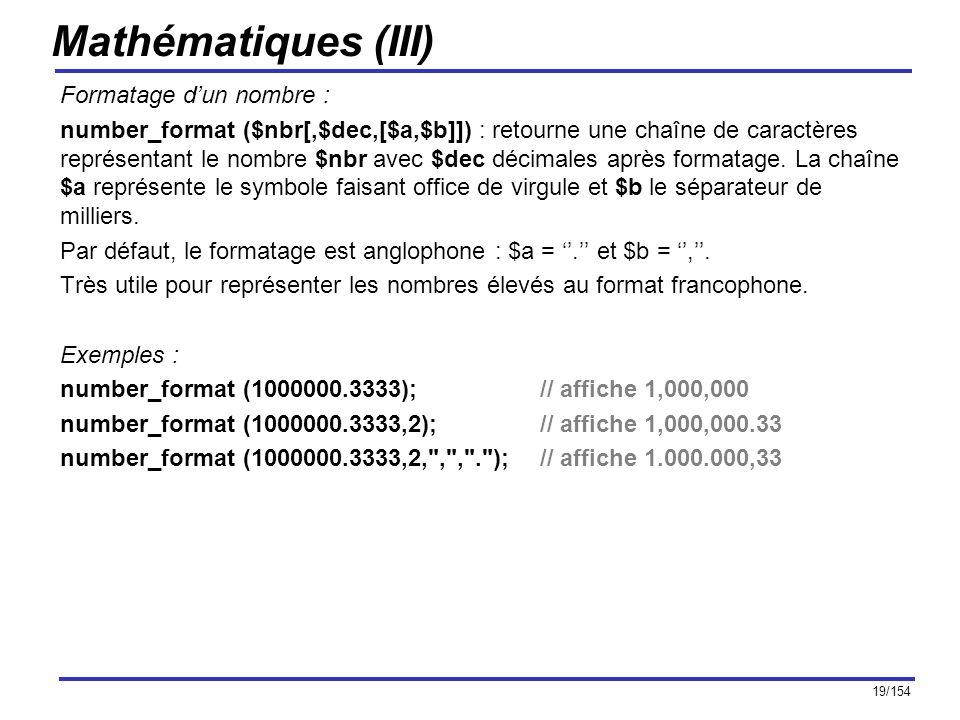 Mathématiques (III) Formatage d'un nombre :