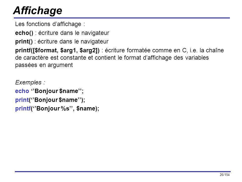 Affichage Les fonctions d'affichage :