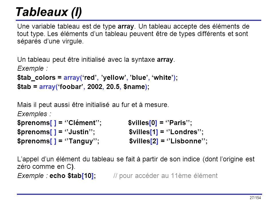 Tableaux (I)