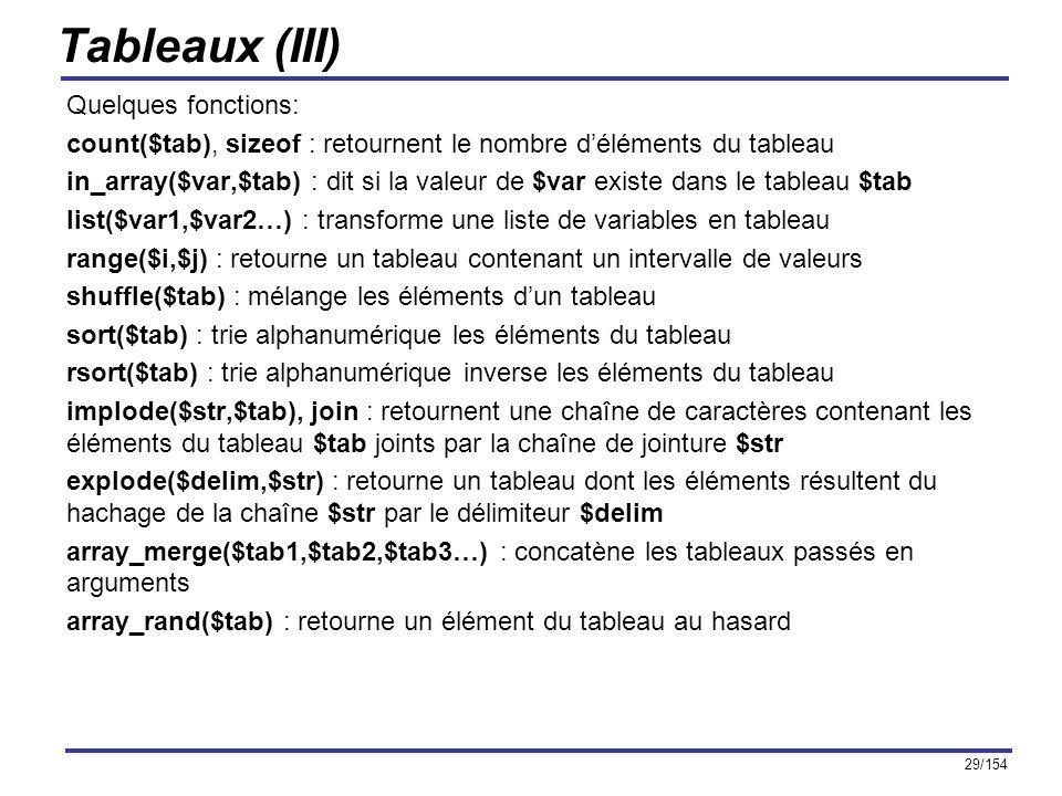 Tableaux (III) Quelques fonctions: