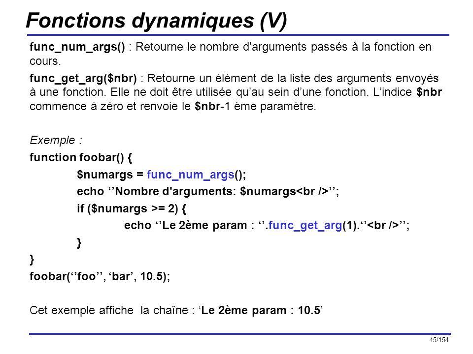 Fonctions dynamiques (V)