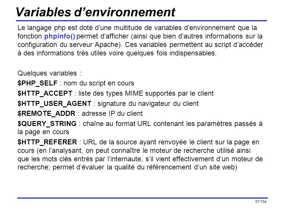 Variables d'environnement