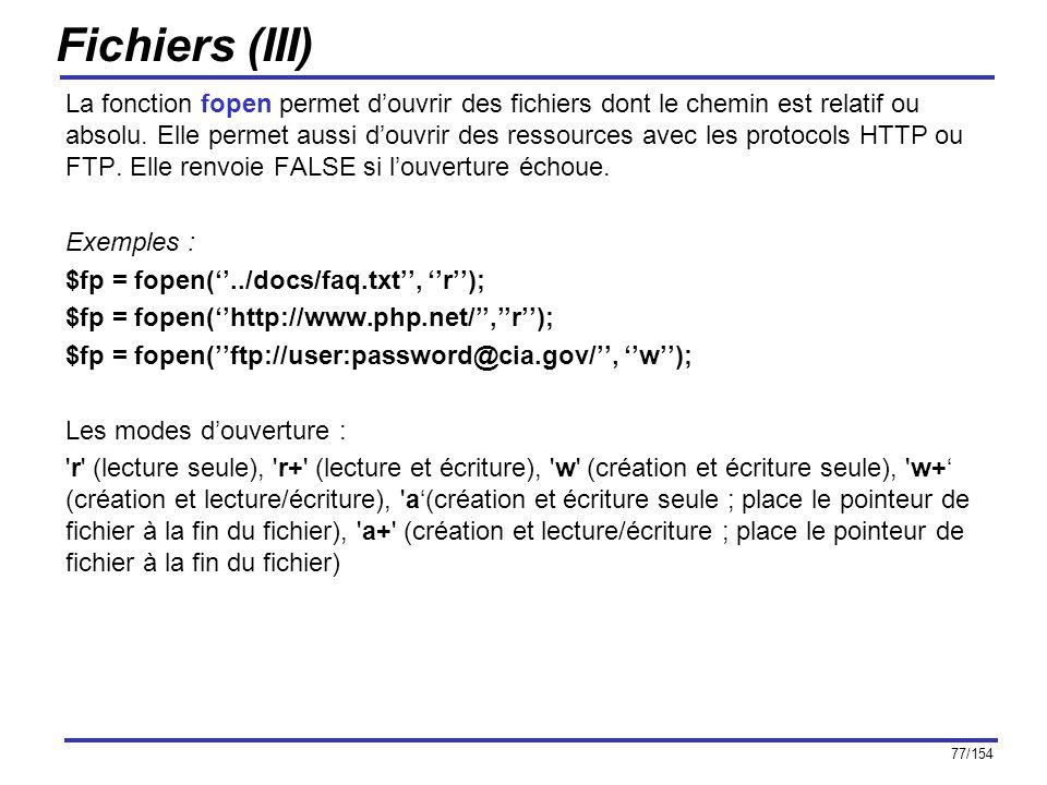 Fichiers (III)
