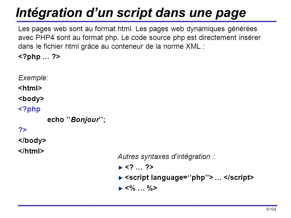 Intégration d'un script dans une page