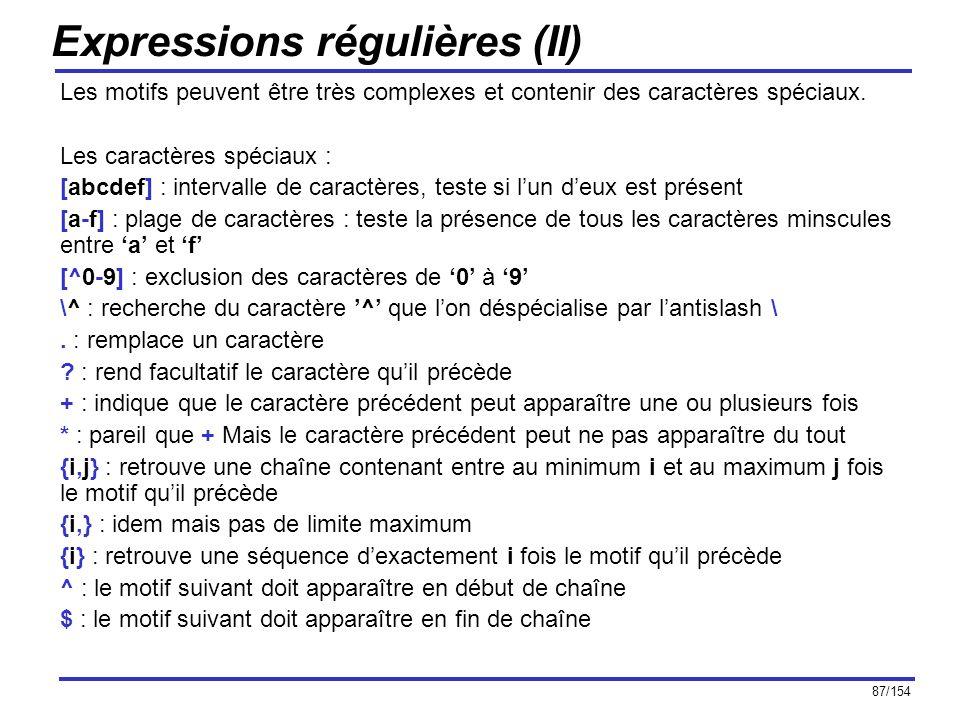 Expressions régulières (II)