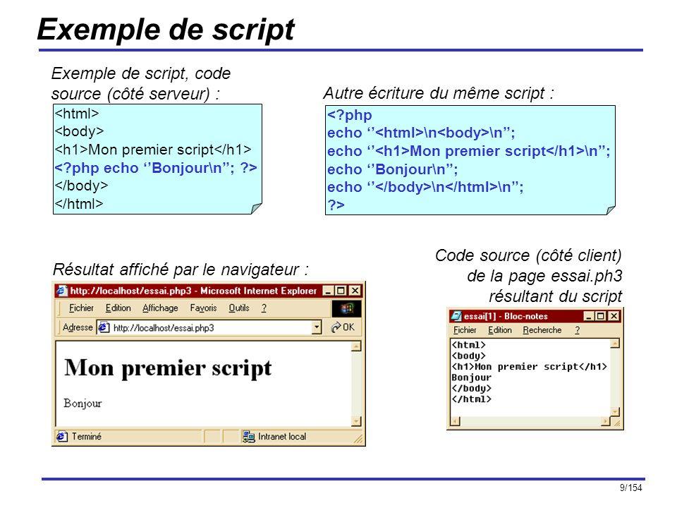 Exemple de script Exemple de script, code source (côté serveur) :