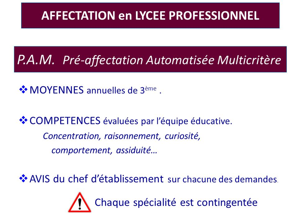 AFFECTATION en LYCEE PROFESSIONNEL