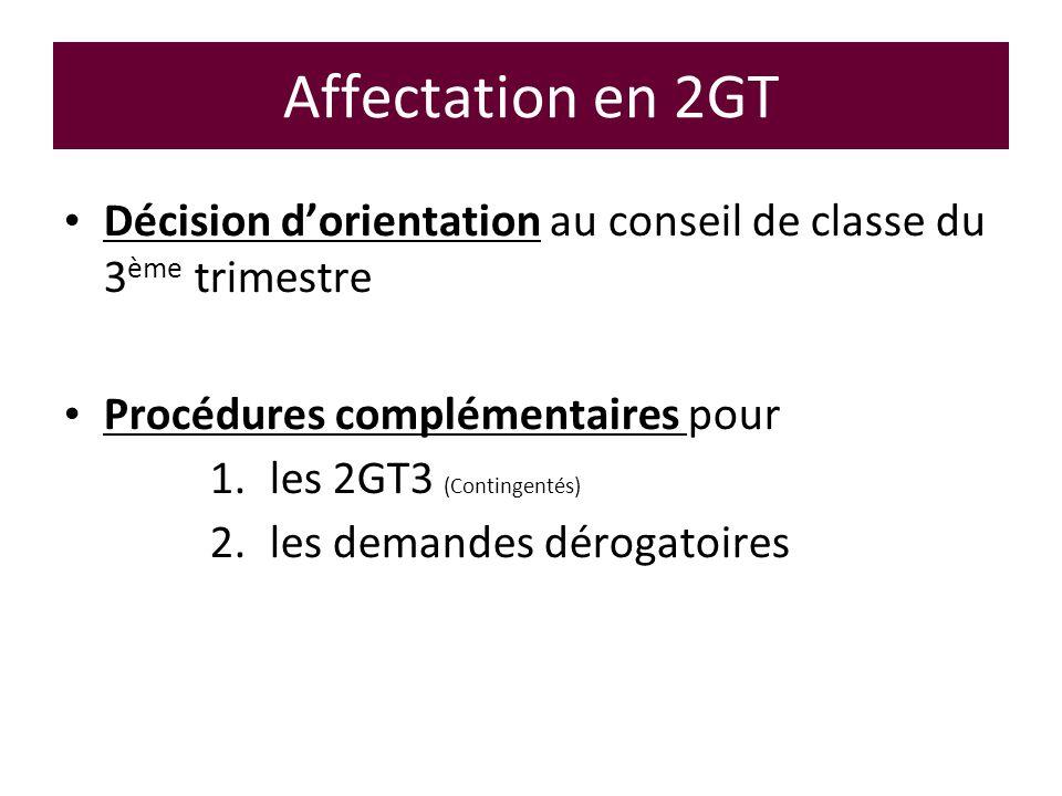 Affectation en 2GT Décision d'orientation au conseil de classe du 3ème trimestre. Procédures complémentaires pour.