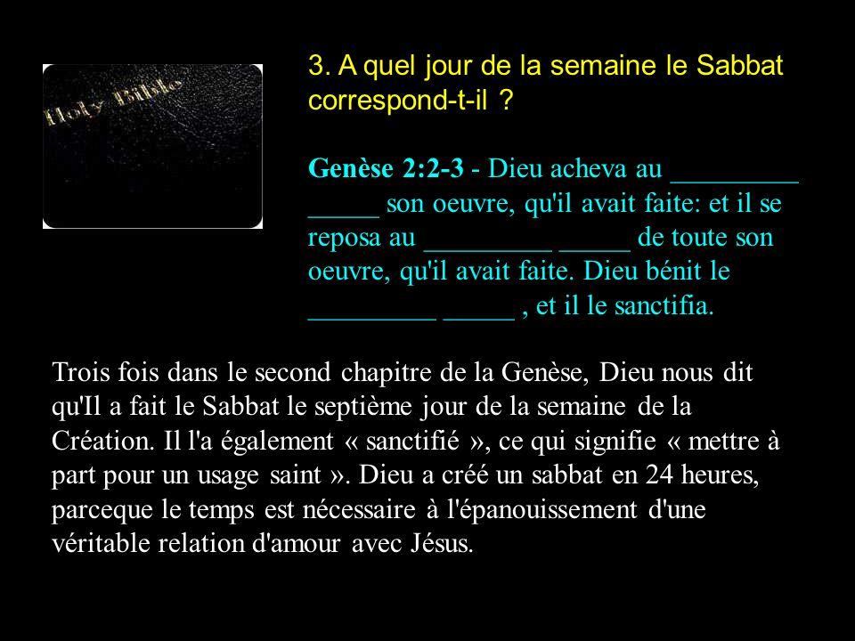 3. A quel jour de la semaine le Sabbat correspond-t-il