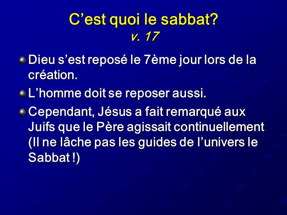 C'est quoi le sabbat v. 17 Dieu s'est reposé le 7ème jour lors de la création. L'homme doit se reposer aussi.