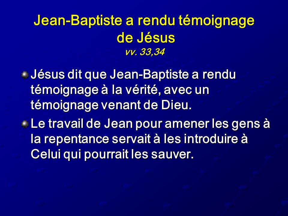 Jean-Baptiste a rendu témoignage de Jésus vv. 33,34
