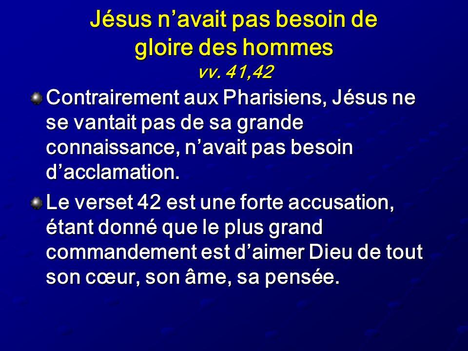 Jésus n'avait pas besoin de gloire des hommes vv. 41,42