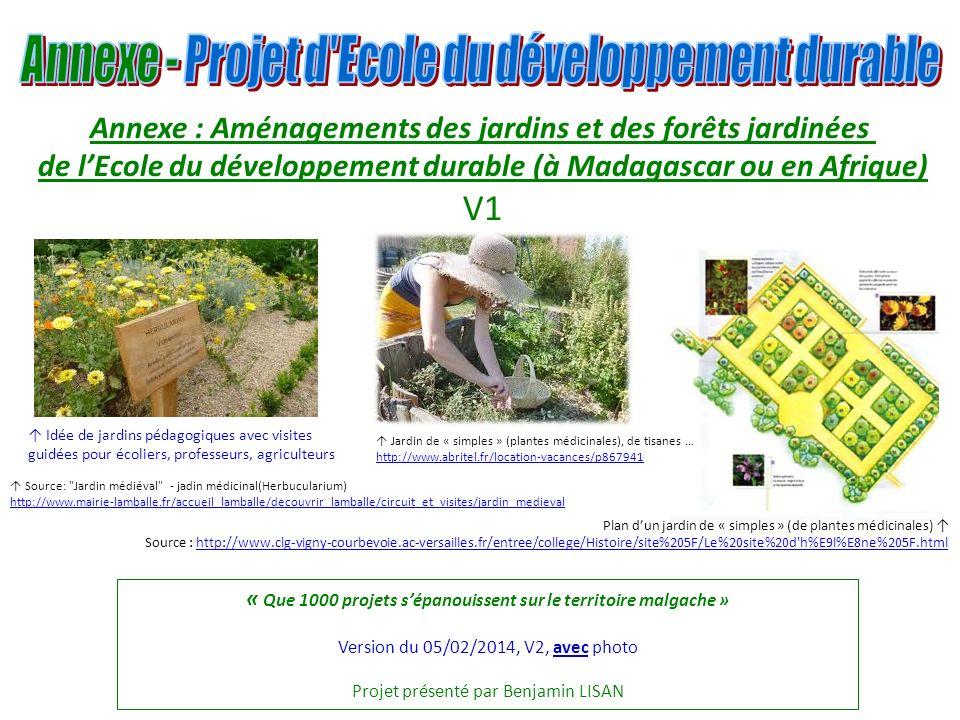 V1 Annexe : Aménagements des jardins et des forêts jardinées
