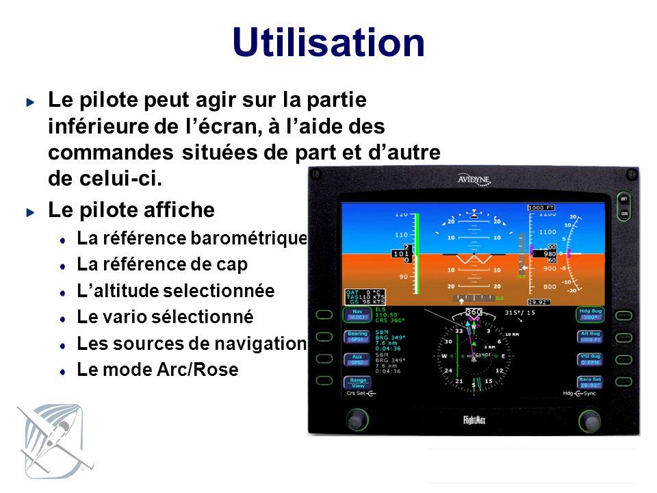 Utilisation Le pilote peut agir sur la partie inférieure de l'écran, à l'aide des commandes situées de part et d'autre de celui-ci.