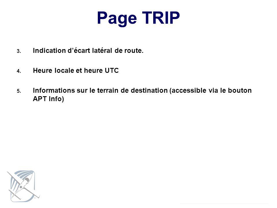 Page TRIP Indication d'écart latéral de route.