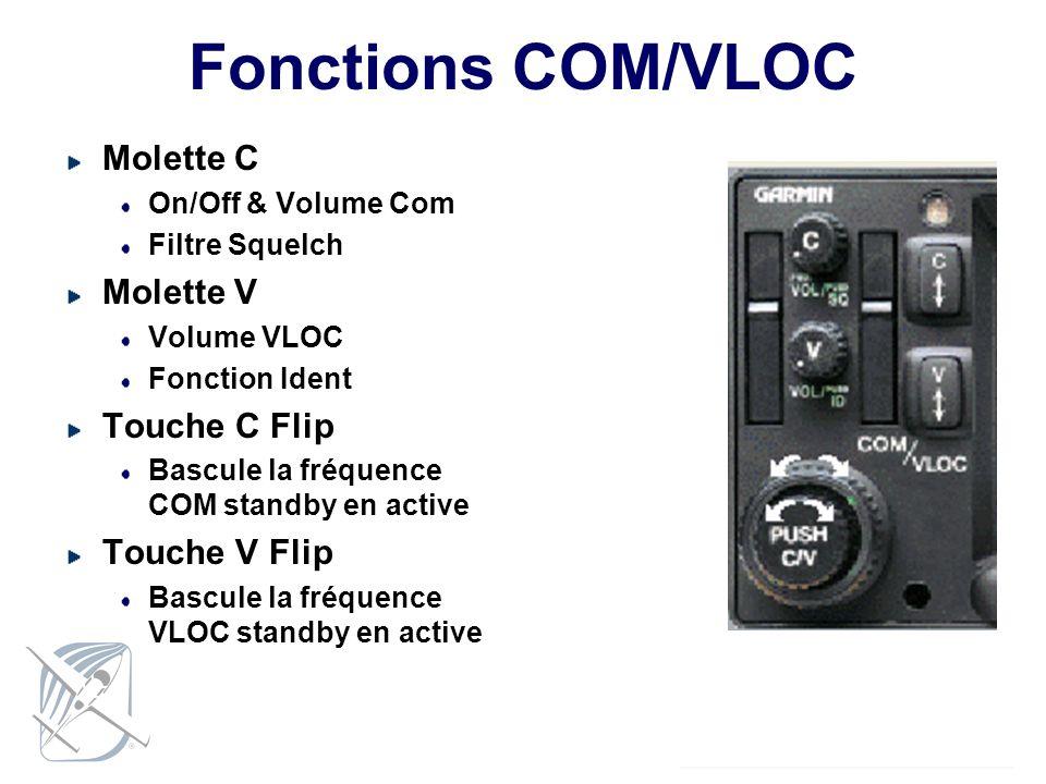 Fonctions COM/VLOC Molette C Molette V Touche C Flip Touche V Flip