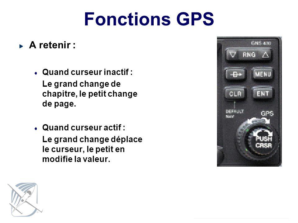 Fonctions GPS A retenir : Quand curseur inactif :