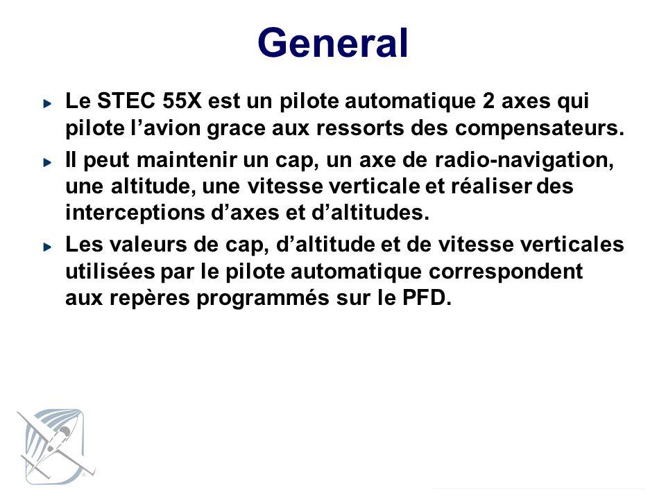 General Le STEC 55X est un pilote automatique 2 axes qui pilote l'avion grace aux ressorts des compensateurs.