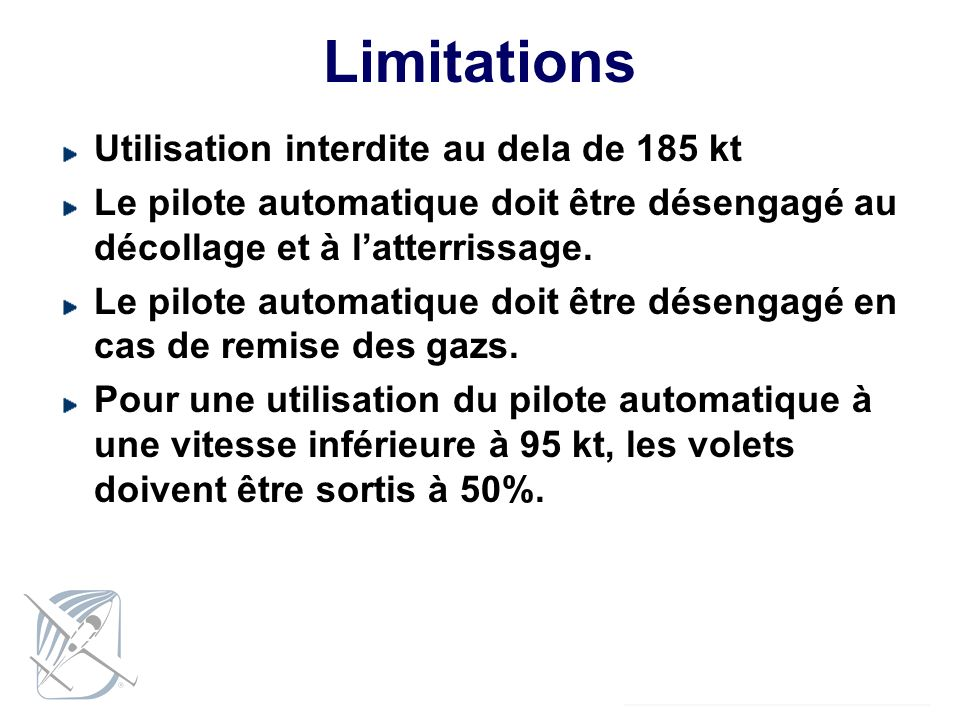 Limitations Utilisation interdite au dela de 185 kt
