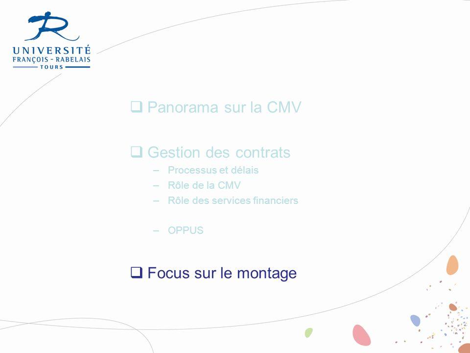 Panorama sur la CMV Gestion des contrats Focus sur le montage