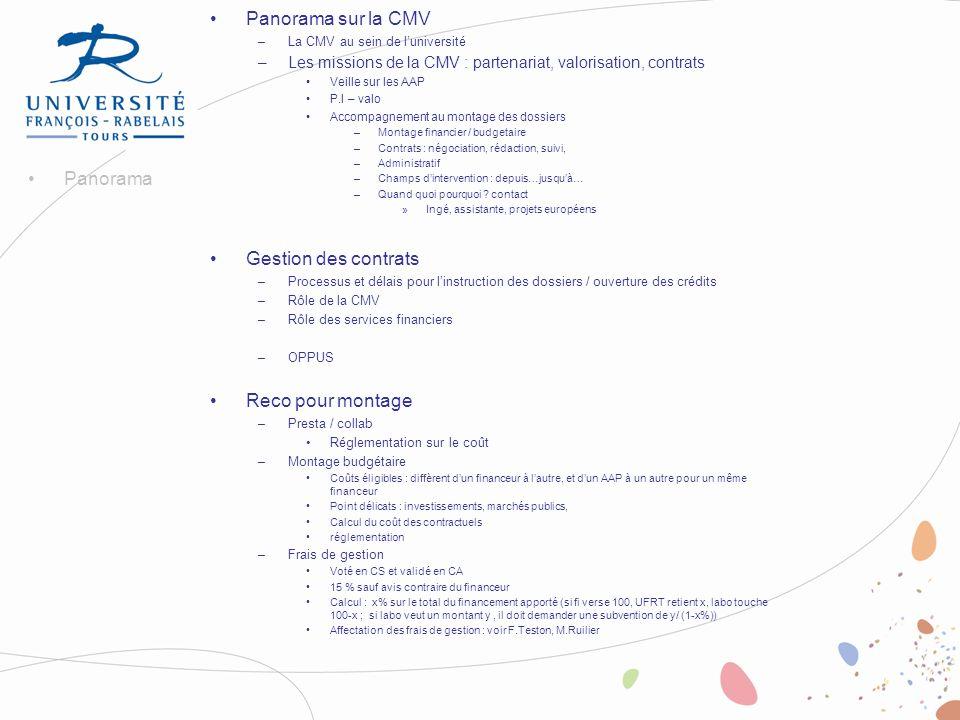 Panorama sur la CMV Gestion des contrats Panorama Reco pour montage