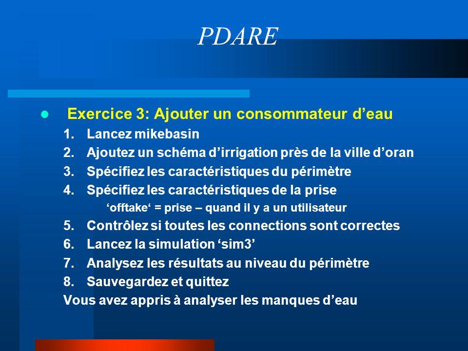 PDARE Exercice 3: Ajouter un consommateur d'eau Lancez mikebasin