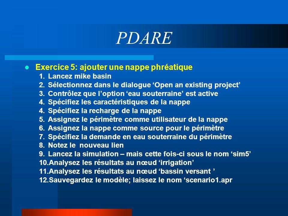 PDARE Exercice 5: ajouter une nappe phréatique Lancez mike basin