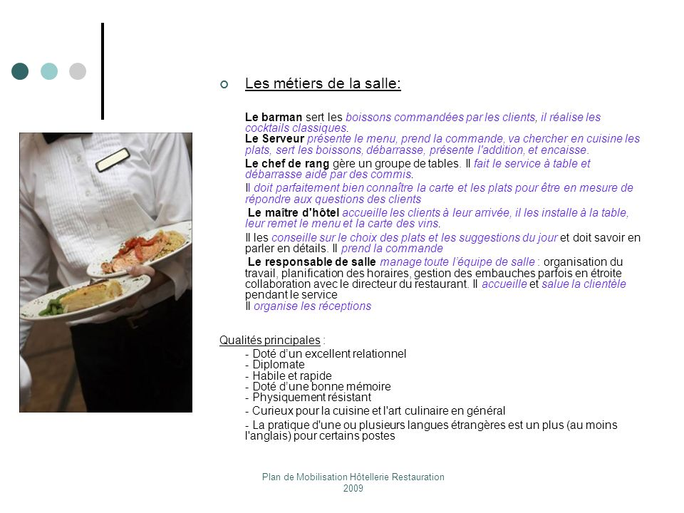 Plan de mobilisation h tellerie restauration ppt video online t l charger - Commis de cuisine en anglais ...
