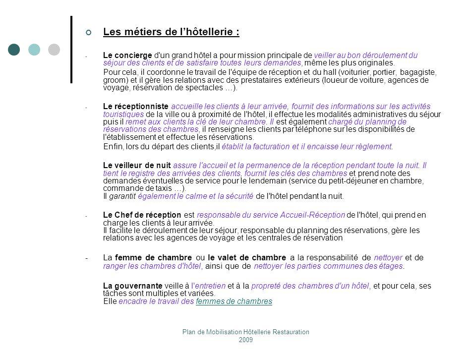 Plan de Mobilisation Hôtellerie Restauration 2009