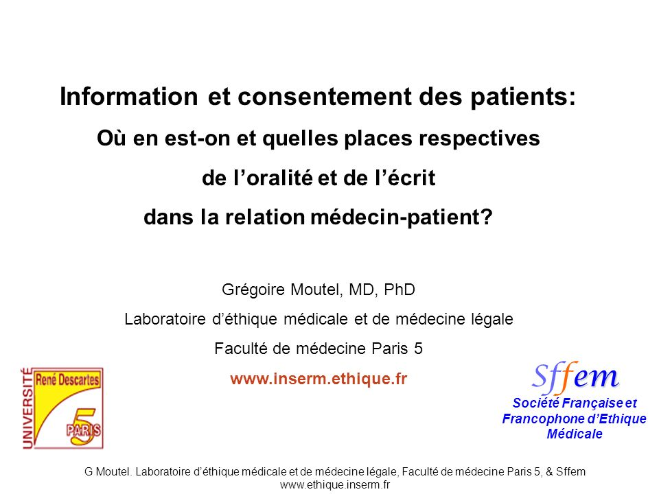 Sffem Information et consentement des patients:
