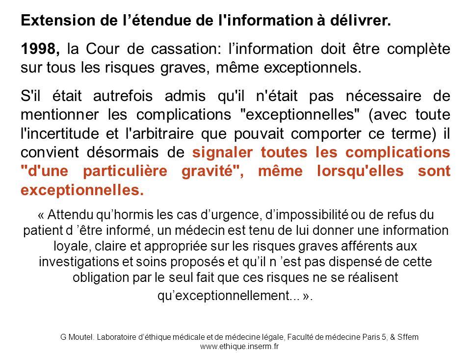 Extension de l'étendue de l information à délivrer.