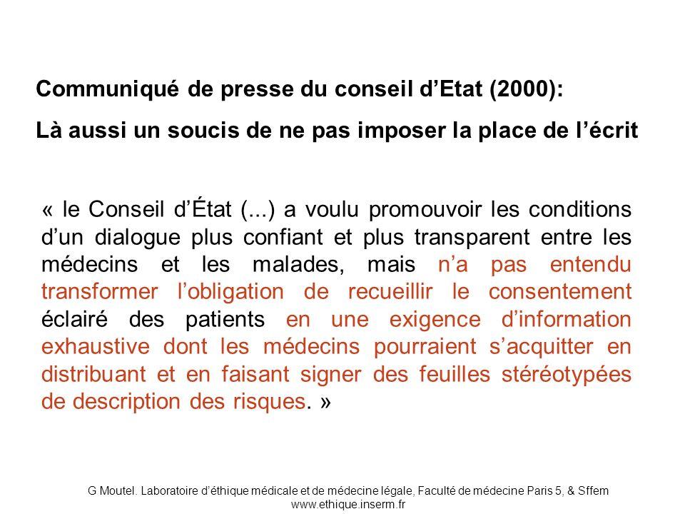 Communiqué de presse du conseil d'Etat (2000):