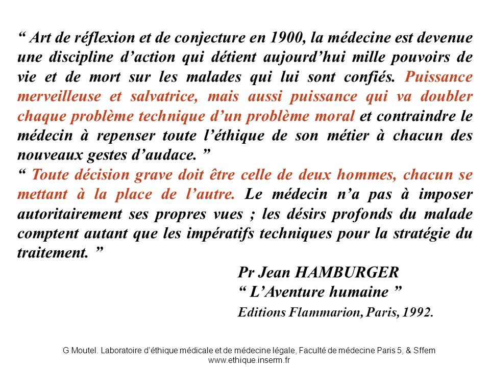 Pr Jean HAMBURGER L'Aventure humaine