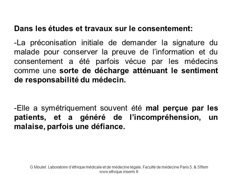 Dans les études et travaux sur le consentement: