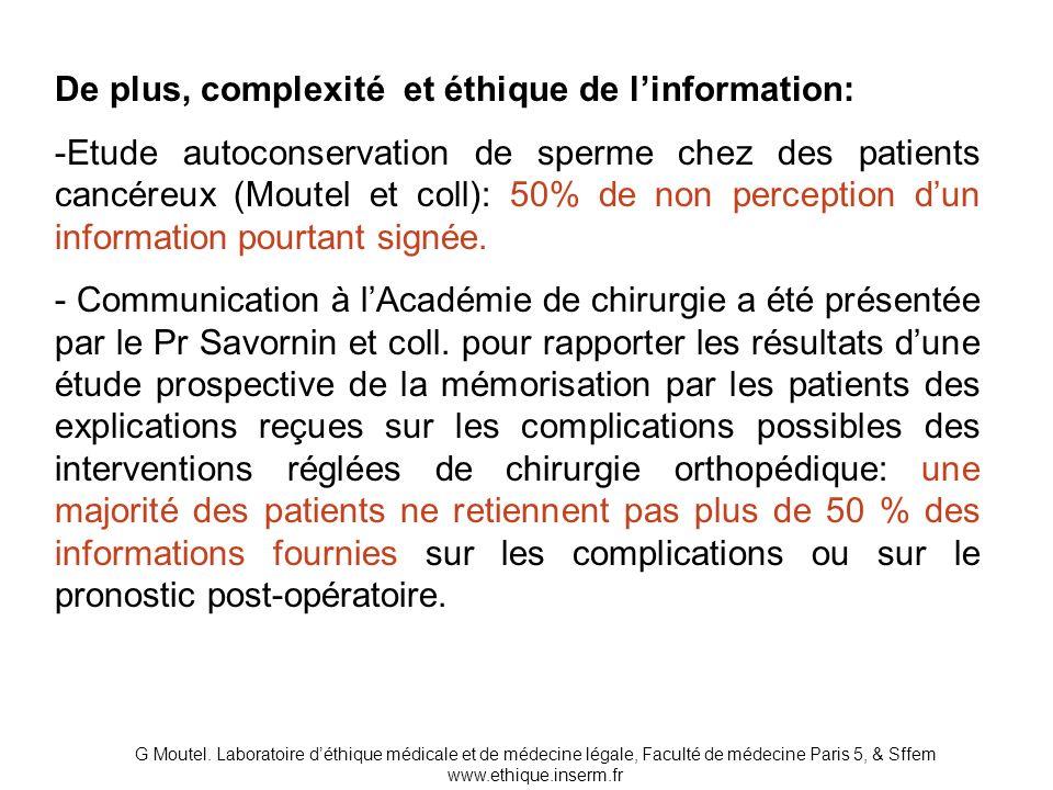 De plus, complexité et éthique de l'information: