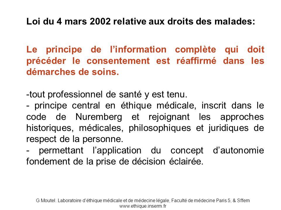 Loi du 4 mars 2002 relative aux droits des malades: