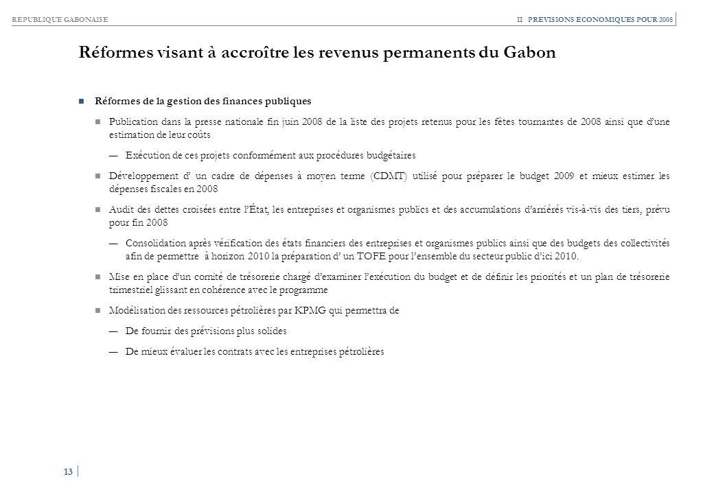 Réformes visant à accroître les revenus permanents du Gabon (suite)