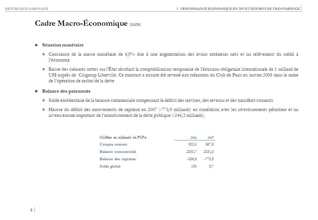 Cadre Macro-Économique (suite)