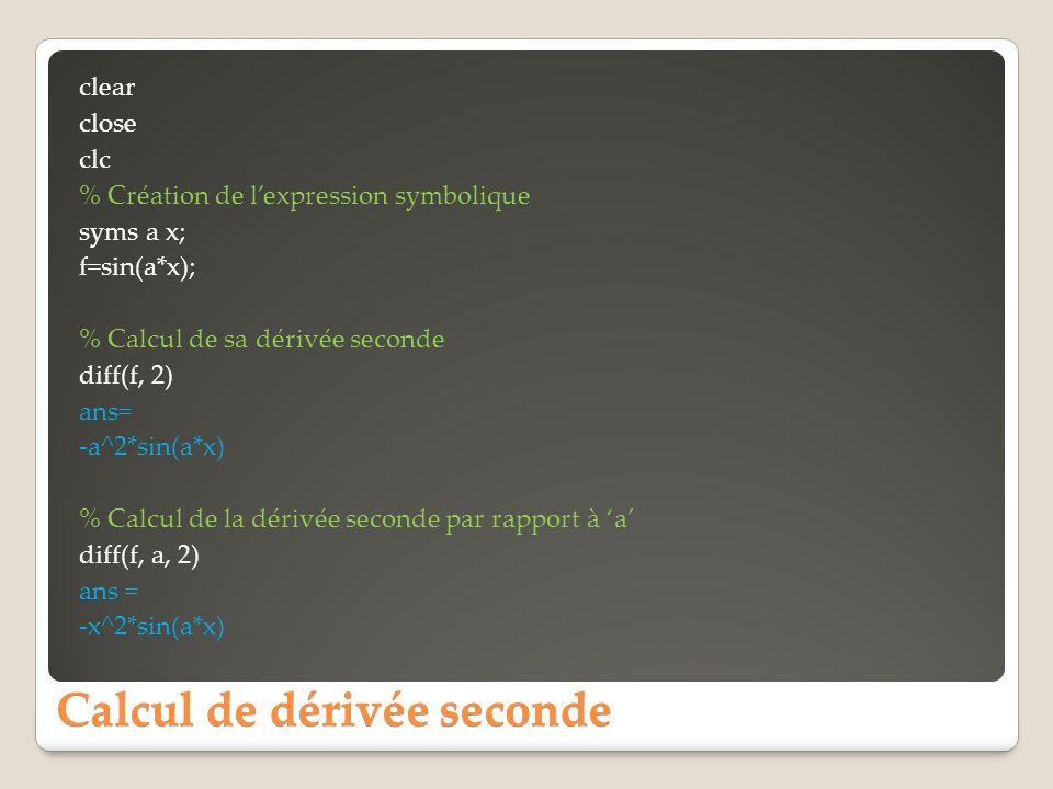 Calcul de dérivée seconde
