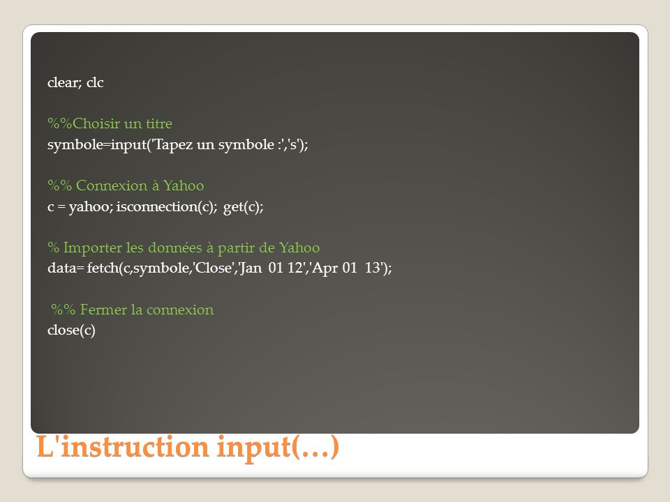 L instruction input(…)